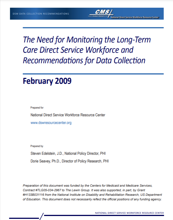 The Need for Monitoring the Long-Term Care Direct Service Workforce and Recommendations for Data Collection