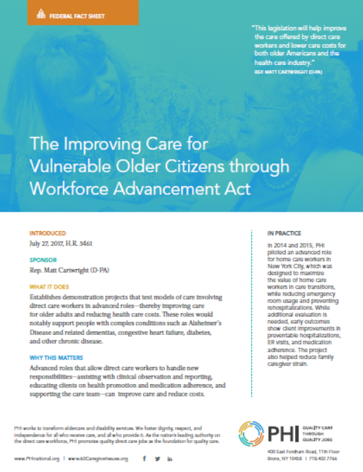 Improving Care for Vulnerable Older Citizens through Workforce Advancement Act